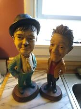 2 Esco Laurel & Hardy Chalkware Statues-The Dynamic Duo Together Again