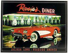 ROSIE'S DINER & 53 CORVETTE METAL SIGN Lewis Car Art Chevy Chevrolet Sports Auto