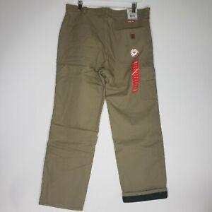 Coleman Men Outdoor Heavy Rugged Pants Fleece Lined Driftwood Tan MSRP $80 34X30