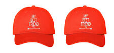 My Best Friend Pair Couples Low Profile Baseball Caps Red