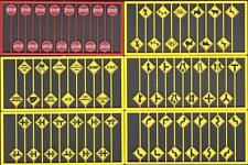 Tichy Train Group Road Sign Assortment 1 With Red Stop #8257 75 Pieces HO Scale