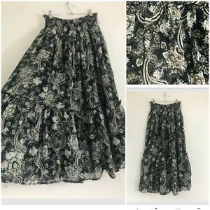 Vintage Boho Black Paisley Maxi Skirt Size 14/16 Gypsy Peasant Prairie Hippie