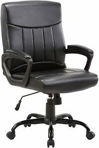 CLATINA Mid Back Leather Office Executive Chair with Lumbar Support and Padded