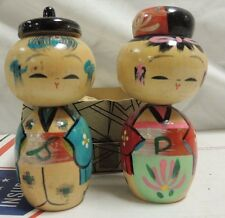 Vintage Made In Japan, Man and Woman, Salt & Pepper Shakers Wooden