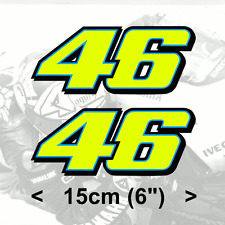 "2 x Valentino Rossi Sticker FLUORESCENT YELLOW 46 sticker (2014) vinyl 6"" 15cm"