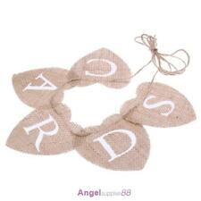 CARDS Love Heart Mini Hessian Burlap Banner Rustic Wedding Bunting Banner P