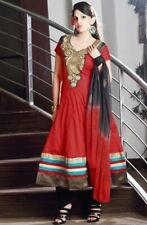 Tomato Red Cotton Anarkali with bold zari Embroided patch work- Chiffon Dupatta