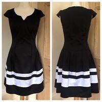 Bravissimo Pepperberry Black White Stripe 1950's Style Dress 8 RC Really Curvy