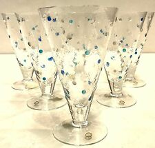 """Neiman Marcus Set of 6 LARGE Hand Blown Goblets - 7"""" H x 4.25"""" Made in Hungary"""