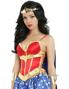 DC Comics Wonder Woman Lace Up Corset W/ Detachable Cape Costume Cosplay L NWT