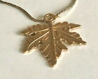 "Vintage Gold Tone Textured Leaf Pendant Chain Choker Necklace 1 1/4"" x 1 1/4"""