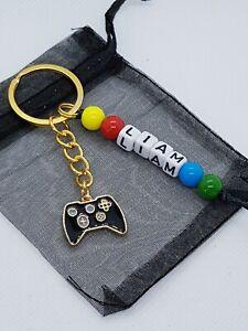 Personalised games controller Keyring, gamer gifts, gaming school bag name tag