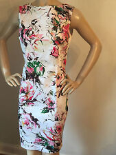 NEW ST JOHN KNIT SZ 8 SHEATH DRESS BRIGHT WHITE FLORAL COTTON SPANDEX