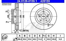 ATE Juego de 2 discos freno Antes 296mm ventilado para TOYOTA RAV 24.0128-0159.1
