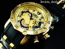 Invicta Mens 50mm Pro Diver Scuba Japanese Chronograph Gold Tone Gold Dial Watch