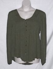 KNOX ROSE – TOP – LONG SLEEVE BABY DOLL – KHAKI GREEN – SIZE XXL (2X) – NWT $49