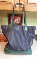 Woman's Ralph Lauren RLL Navy Blue Green Leather Large Tote Bag Purse Shopper