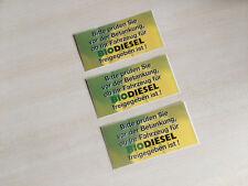 3 Aufkleber 10x5 cm - Betankung Biodiesel prüfen Freigabe Bio Diesel Bio-Diesel