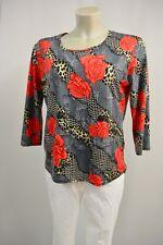 FORCE PARIS Bluse Shirt Tunika  M Stretch Grau-Schwarz Rosa Motiv Pailletten