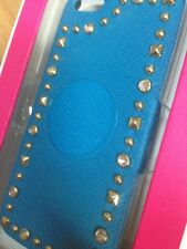Juicy Couture iPhone 5 Blue Hard Leather Gold Studded Case  YTRUT519 Retails $48