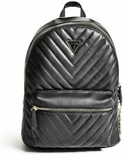 NEW GUESS Women's Carlita Black Quilted Charm Large Backpack Handbag Crossbody