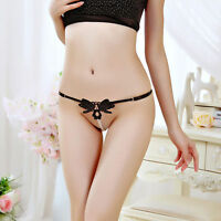 Women Lace Cute Pearl Briefs Underwear Thong G-string Panties Butterfly Sexy