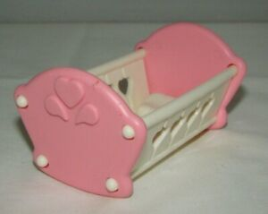 Vtge Fisher Price Loving Family Dollhouse Playskool Pink Baby Girl Crib Cradle