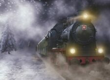 7x5ft Winter Snow Polar Express Train Backdrop kids party Background Banner