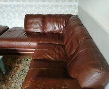 Brown leather corner sofa used