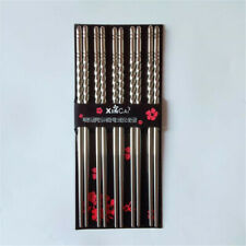 5Pairs Reusable Chopsticks Metal Korean Chinese Stainless Steel Food Chop Sticks