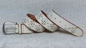 FOSSIL - Women's Belt - OFF WHITE CREME Leather - LACED LEATHER DESIGN - Size L