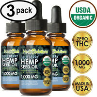 BLUEBERRY Hemp Oil Drops for Pain Relief, Stress, Anxiety, Sleep - (3 PACK)
