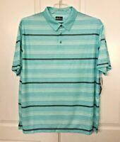 Ben Hogan Performance Short Sleeve Golf Polo Shirt Blue Radiance Striped Sz 3XL