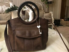 FOSSIL Small Brown  Leather Shoulder Hobo Tote Satchel Purse Bag
