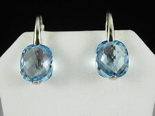 18K Blue Topaz Earrings Drop Dangle Lever White Gold Zoccai LeGi ITALY