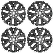 "4pc Hub Caps Carbon Fiber Gray / Charcoal Silver / Gunmetal 15"" Wheel  Cover Cap"