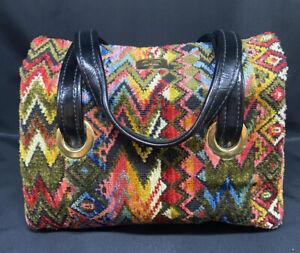 VINTAGE CARPET BAG Retro Design Tapestry Handbag Purse EUC