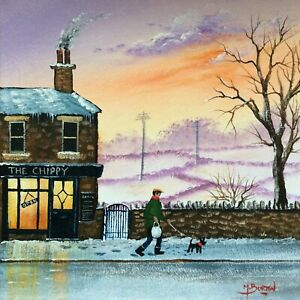 MAL.BURTON ORIGINAL OIL PAINTING. THE CHIPPY  NORTHERN ART DIRECT FROM ARTIST