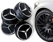 4 Tappi Coprimozzo Mercedes AMG Classe A B C CLS CLA  Cerchi in Lega 75mm NERI
