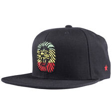 SSUR Plus Rasta Lion Snapback Hat Black Adjustable 6 Panel Embroidered Cap