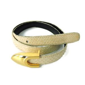 Genuine Snake Skin belt womens sz S XS Beige Nude gold-tone pin hook buckle slim