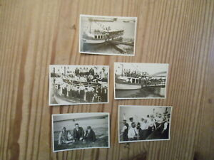 Rhein Dampfschiff Möve - 5x Foto - Anlegestelle Düsseldorf/Benrath ect.. 1934 -