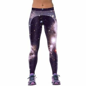 NEW! Galaxy Print Yoga Tights, Size 3, 88% Polyester 12% Spandex, never worn