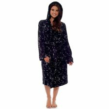 Womens Ladies Magical Dressing Gown Stars & Moon Wizards Soft Plush Fleece Robe
