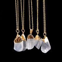 Natural Quartz Crystal Stone Pendant Healing Point Chakra Bead Gemstone Necklace