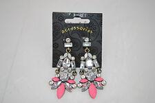 Pink & Clear Diamante Bead Drop Earrings