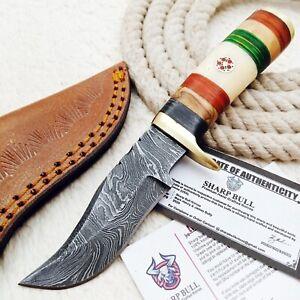 CUSTOM HANDMADE DAMASCUS STEEL HUNTING KNIFE - BONE BRASS - SB-1733