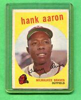 1959 TOPPS BASEBALL CARD #380 HANK AARON MILWAUKEE BRAVES
