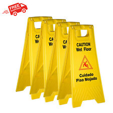 Caution Sign Yellow Wet Floor Alert English Spanish Languages Two Sided 4 Pack