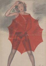 """""""PIN-UP au PARAPLUIE"""" Affiche originale entoilée CAROLS (BRENOT) 1950-51 34x51cm"""